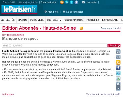 Le Parisien parle des propos insultants d'André Santini à l'encontre de Lucile Schmid
